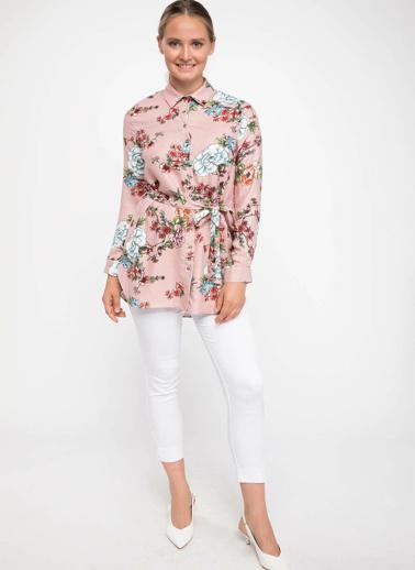 DeFacto Kuşak Detaylı Floral Desenli Gömlek Tunik Bordo